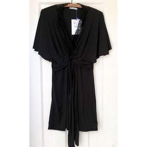 Zara Silky Black Tunic Dress, Size M